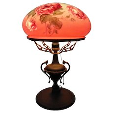 Antique Victorian Roses Table Lamp Floral Flowers Mushroom Shade