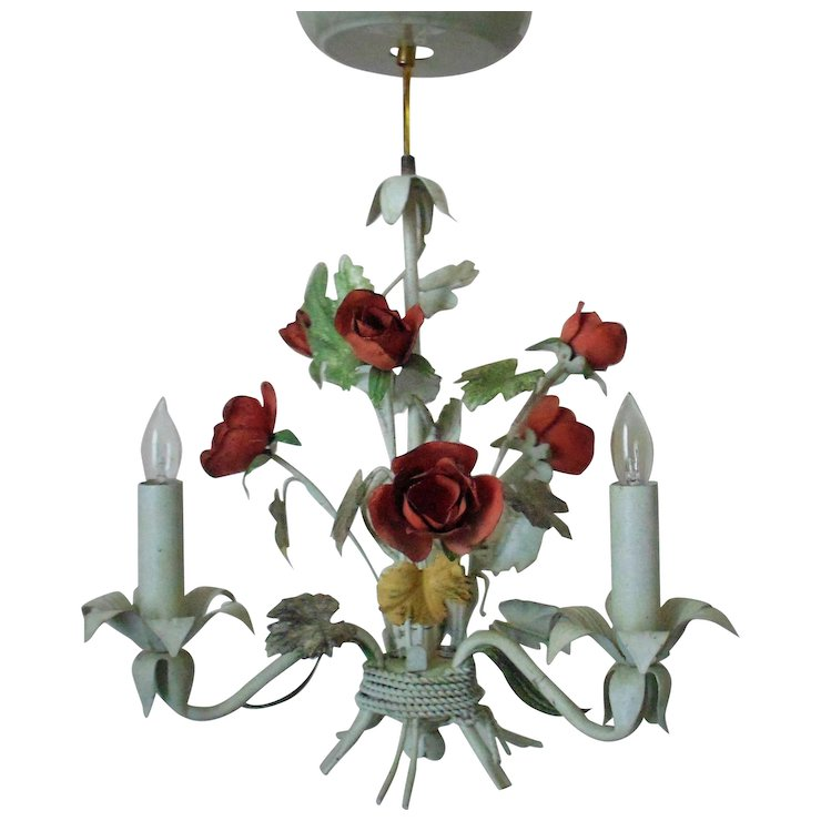 Sweet petite italian tole chandelier w roses floral flowers italy sweet petite italian tole chandelier w roses floral flowers italy mozeypictures Image collections