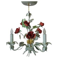 Sweet Petite Italian Tole Chandelier w/ Roses Floral Flowers Italy