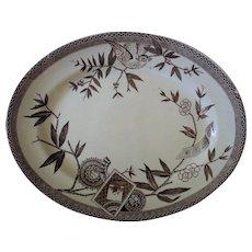 "19c Wedgwood ""Louise"" Victorian Platter Aesthetic Eastlake Brown & White Transferware Bird & Flowers"