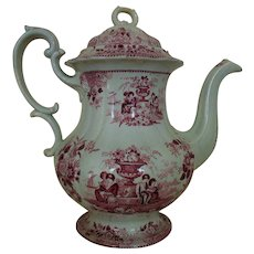 Antique Staffordshire Pink / Red Transferware Coffee Pot with Children Ships Flowers Urns England English c. 1835 Victorian