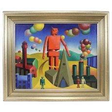 Geometric Surrealist Modern Painting Oil on Canvas Mid Century Modern Surreal Machine Age Signed Tayano