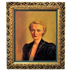 Art Deco Portrait Painting Lady Woman Oil on Canvas c. 1930 with Italian Picture Frame Gilt Wood & Gesso Modern