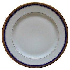 10 French Limoges Vignaud Cobalt Blue & Gold Dessert / Bread Plates