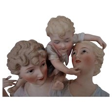 19th c. German Porcelain Bisque Group Family Statue Sculpture - As is