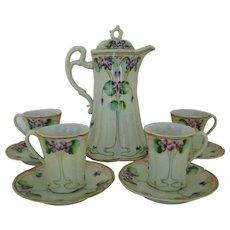 Art Nouveau Violets Chocolate Set Pot Cups & Saucers TN Japan Nippon Hand-Painted