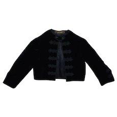 1920s Best & Co. Child's Black Velvet Jacket New York Vintage