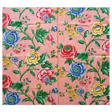 6+ Yards Peach Pink Chintz Sewing Fabric with Flowers Floral