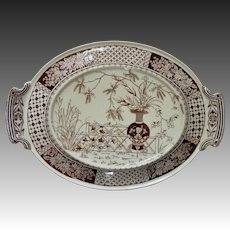 19th c. Copeland Brown Transferware Underplate for  Casserole or Soup Tureen Aesthetic Eastlake English England Victorian