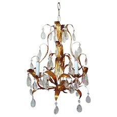 Sweet Petite Vintage Chandelier Italian Tole Gilt Metal Bird Cage Modern 4 Lights