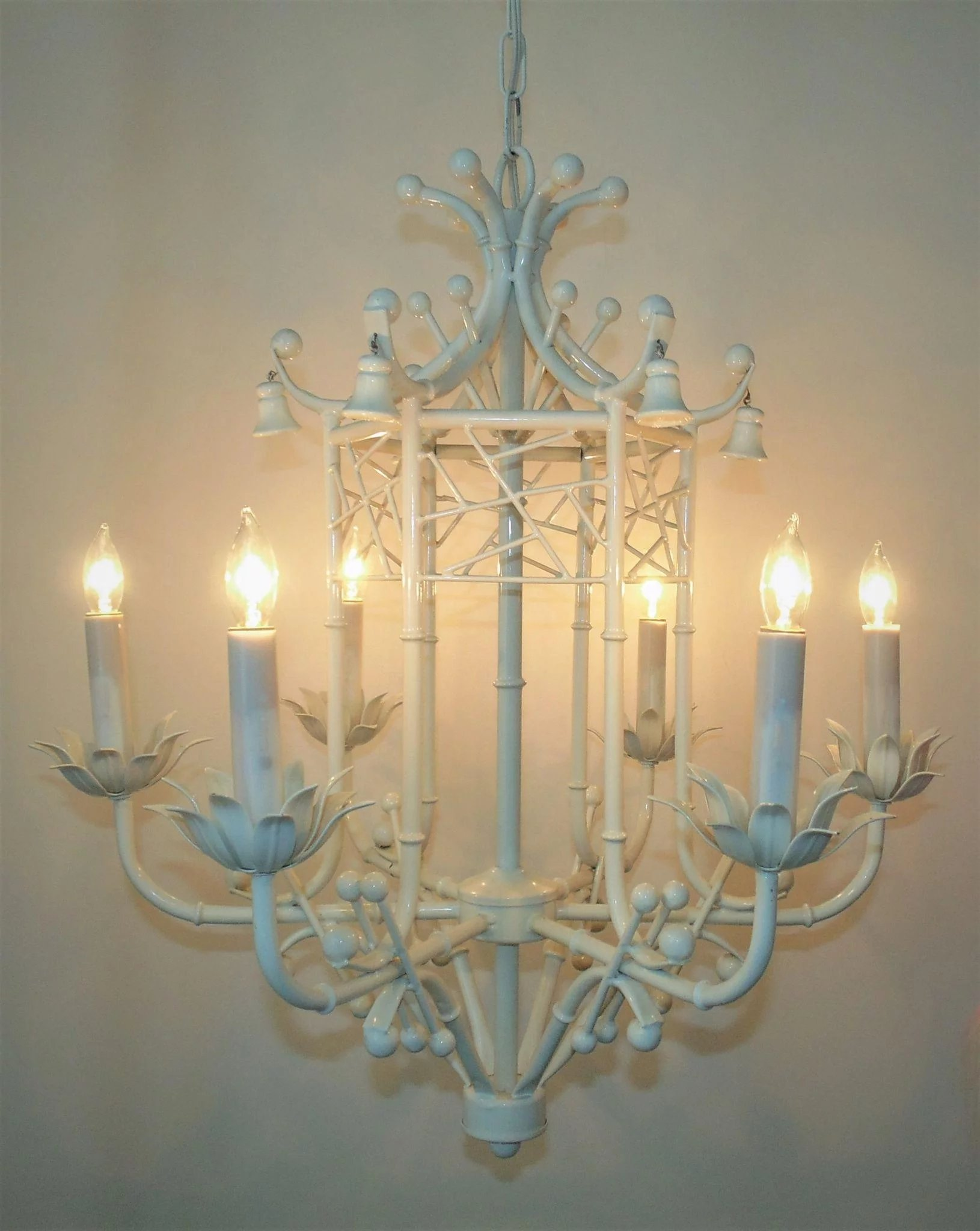 Vintage faux bamboo chandelier italian tole pagoda hollywood glam click to expand arubaitofo Images