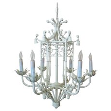 Vintage Faux Bamboo Chandelier Italian Tole Pagoda Hollywood Glam White 6 Lights Modern