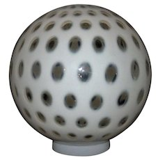 """Lamp Ball Shade Optic White Opalescent for Banquet / GWTW / Gone with the Wind Oil / Kerosene Lamps 10.5"""" Globe 4.25"""" Fitter"""
