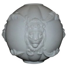 """1 of 2 White Puffy Ball Lamp Shades Lions Head for Banquet / GWTW / Gone with the Wind / Oil / Kerosene Globe 10 1/8"""" Tall 4 1/4"""" Fitter"""