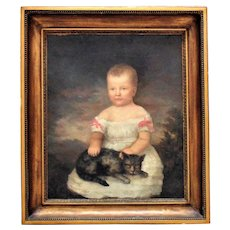 19th c. Portrait Painting of a Child & Cat Oil on Canvas Folk Art Primitive American School in Antique Gilt Wood & Gesso Frame