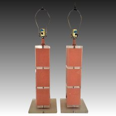 Pair 60s Modern Lucite Stacked Table Lamps Coral Pink Karl Bauer Style Mid Century Retro