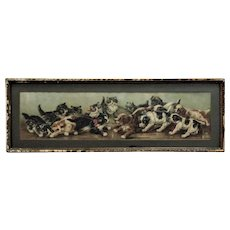 Victorian Chromolithograph Print Dogs Cats Puppies Kittens Tug of War Antique in Gilt Wood Frame Yard Long