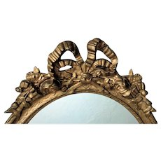 19th c. Victorian Petite Oval Mirror Gilt Wood & Gesso Ribbon and Bow Antique