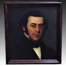 19th c. Portrait Painting of a Gentleman Oil on Canvas in Wood Picture Frame Victorian Man