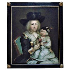 18th c. Portrait Painting Mother & Child Oil on Board Woman Lady Daughter Antique c. 1789 Primitive Folk Art