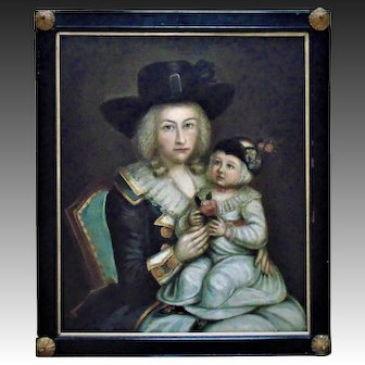 18th c. Portrait Painting Mother & Child Oil on Board Woman Lady Daughter Antique c. 1789