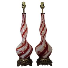 Pair Italian Candy Cane Glass Lamps Mid Century Modern Vintage Hollywood Glam Murano Venetian