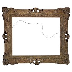 "Fancy 19th c. Victorian Picture Frame Gilt Wood & Gesso Art Nouveau Antique 16"" x 20"" Opening for Painting or Print"