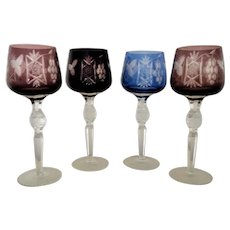 Set of 4 Bohemian Wine Hocks Glasses Cut to Clear Crystal Stems +1 Extra