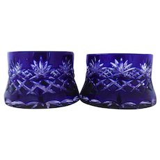 Pair Elephant Foot Candle Holders Cobalt Blue Cut to Clear Bohemian Glass