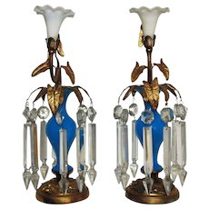 PAIR 1880s Victorian Mantle Lusters Blue Opaline Glass & Gilt Bronze Candle Holders Candlesticks Aesthetic Eastlake Lustres Antique Girandoles