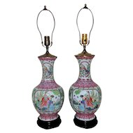 Pair of Vintage Chinese Export Table Lamps Asian Vase Form Famille Rose