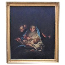 19th c. Portrait Painting Madonna & Child Baby Jesus Cherubs Angels Oil on Canvas German School Antique Virgin Mary Religious