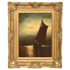 19th c. Painting Boat Schooner Ship MOONLIGHT SAIL Oil on Canvas Signed Wesley Webber Listed Artist Seascape Nautical Maritime Antique