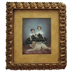 19th c. Watercolor Portrait Painting of Sisters Girls Children with Dog Victorian Antique in Gilt Wood & Gesso Frame
