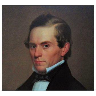 19th c. Portrait Painting Man Gentleman Oil on Canvas Victorian Antique