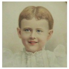 19th c. Victorian Portait Pastel of Boy Child in Original Gilt Wood & Gesso Oval Frame Antique