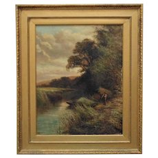 19th c. Landscape Fisherman Painting Signed W. H. Davis Fishing Oil on Canvas Antique British School