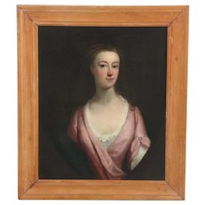 18th c. Portrait Painting Lady Woman Enoch Seeman Oil on Canvas Antique