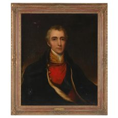 19th c. Portrait Painting Captain George Wellesley Oil on Canvas by Sir John Watson Gordon, Scottish,  Antique Man Gentleman