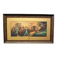 19th c. L'Aurora Italian Chromolithograph Print Guido Reni  in Antique Woood Frame Baroque Cherubs Angels Horses Neo-Classical Apollo's Chariot
