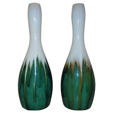 Pair of Tall Modern Ceramic Vases Green & White Drip Glaze