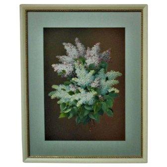 Original 19th c. French Victorian LILACS Pastel Painting Signed Raoul Maucherat de Longpre Antique Still Life Flowers Floral Bouquet