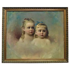 19th c. Portrait Painting Children Girl & Boy Oil on Canvas Victorian Antique Sister & Brother