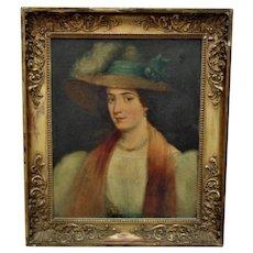 19th c. Portrait Painting Woman Lady Oil on Canvas Antique
