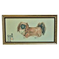 Asian Lithograph of a Chou Chou Dog Signed Chinese or Japanese Print