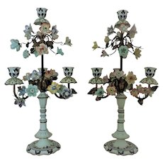 Pair Italian Porcelain Candelabra Lamps w/ Flowers Floral Girandoles Candle Holders