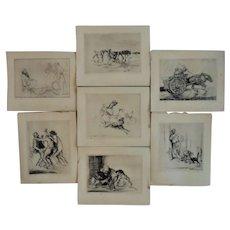 7 Edmund Blampied Etching PRINTS Black & White c. 1926
