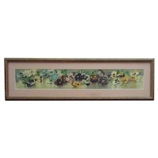 Antique Victorian Yard Long Pansies Print c. 1892 Flowers Floral V. Janus Chromolithograph