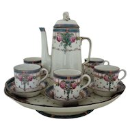 19th c. Royal Worcester Demitasse or Espresso Set Pot Tray/Cake Plate Cups & Saucers England English Roses Antique Victorian