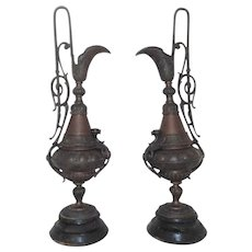 Pair 19th c. Antique Dragon / Griffin Mantle Ewers Victorian Gothic